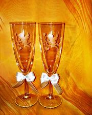 Свадебные бокалы ручной работы много вариантов